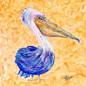 acrylic painting of a pelican with purple feathers on a warm-toned background