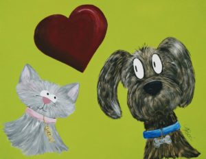 acrylic painting of a cartoon dog and cat with a heart on a green background