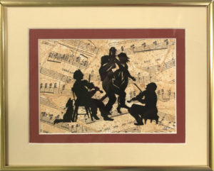 paper cutting art by Karen Bell - black silhouettes of fiddlers playing music for dancing couple