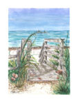 watercolor print of stairs leading to the beach by Suzanne Pisano